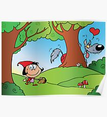 The Big Bad Wolf Spying On Red Riding Hood In The Woods Poster