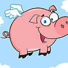 Winged Pig Smiling And Flying In The Sky by ChudTsankov