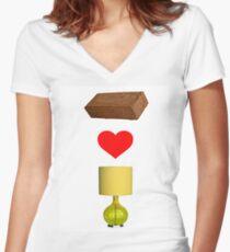 Brick Loves Lamp Women's Fitted V-Neck T-Shirt