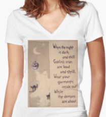 The Ghost & The Pumpkin (Vintage Halloween Card) Women's Fitted V-Neck T-Shirt