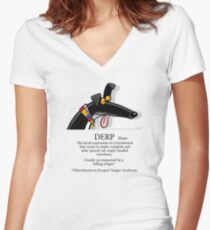 Derp Women's Fitted V-Neck T-Shirt