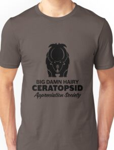 Big Damn Hairy Ceratopsid Appreciation Society (black on light) T-Shirt