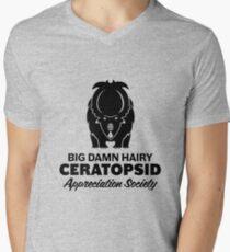 Big Damn Hairy Ceratopsid Appreciation Society (black on light) Men's V-Neck T-Shirt