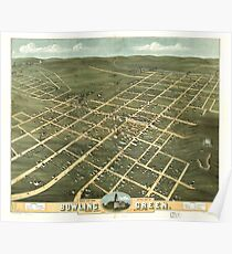 Panoramic Maps Bird's eye view of the city of Bowling Green Warren County Kentucky 1871 Poster