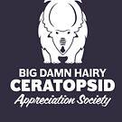 Big Damn Hairy Ceratopsid Appreciation Society (white on dark) by David Orr