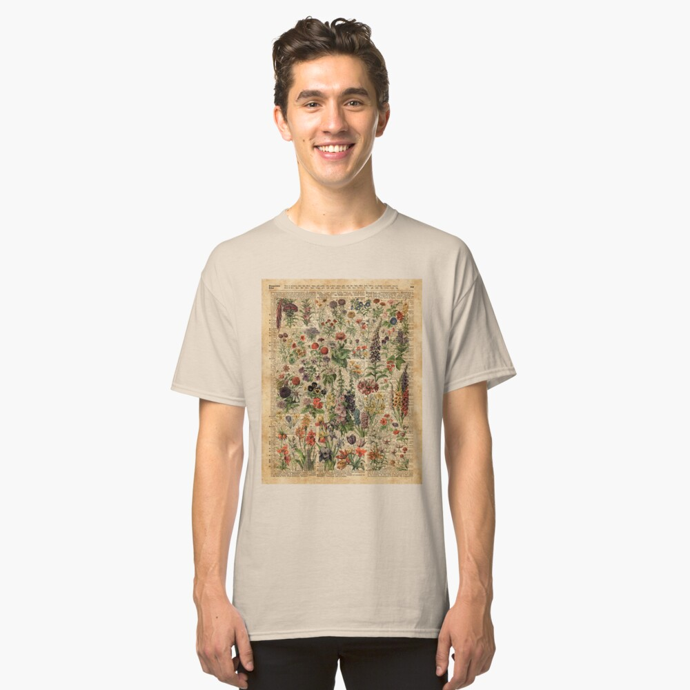 Bunte wilde Wiesenblumen über Weinlese-Wörterbuch-Buch-Seite Classic T-Shirt