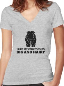 I Like My Ceratopsids Big and Hairy (black on light) Women's Fitted V-Neck T-Shirt