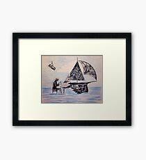 Pianist surreal pen, ink, color pencil drawing Framed Print