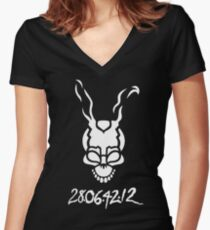 Donnie Darko Outline Women's Fitted V-Neck T-Shirt