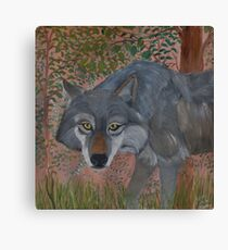 Old Wolf Straggles Through the Forrest Canvas Print
