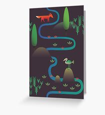 Landscape - Fox and Stream 2 (Pattern) Greeting Card