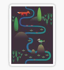 Landscape - Fox and Stream 2 (Pattern) Sticker
