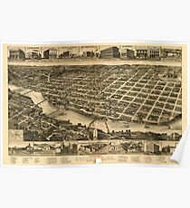 Panoramic Maps Perspective map of Columbus Ga county seat of Muscogee County 1886 Poster
