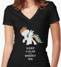 Keep Calm And Brony On Women's Fitted V-Neck T-Shirt