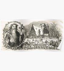 Old Christmas Church Snow scene 1862 Poster