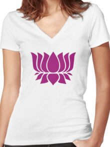 lotus flower zen yoga Women's Fitted V-Neck T-Shirt