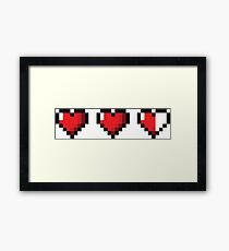 Half-Heart Video Game Hearts Framed Print