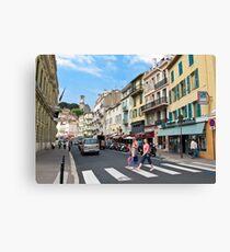 crossing the street Canvas Print
