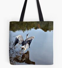 Great Blue Heron at Grover Cleveland Park, Essex Fells NJ - reflections3 Tote Bag