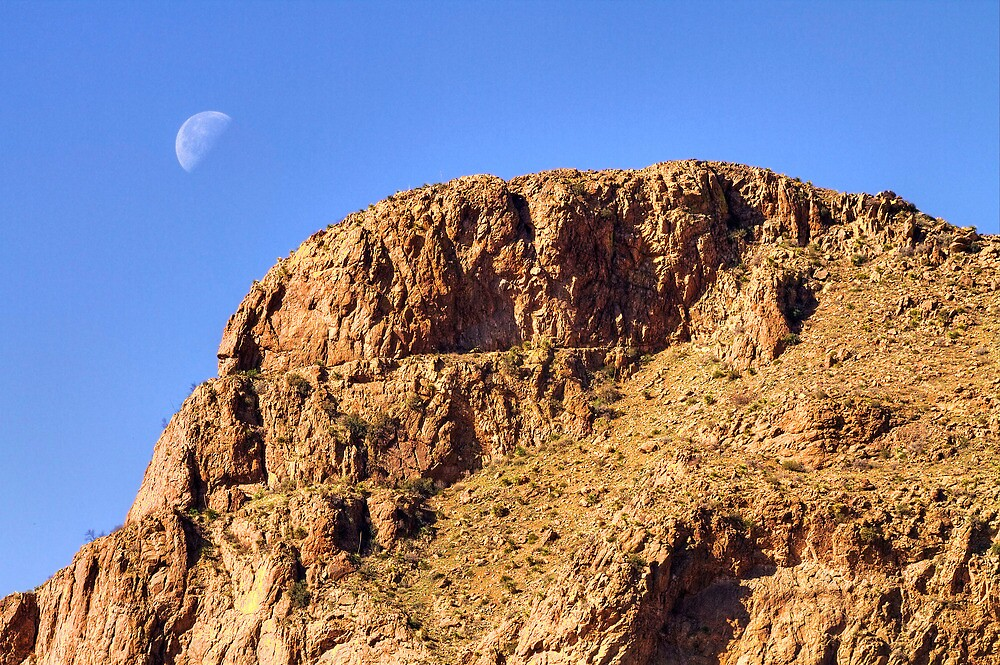 Quarter Moon over the Franklin Mountains by Ray Chiarello
