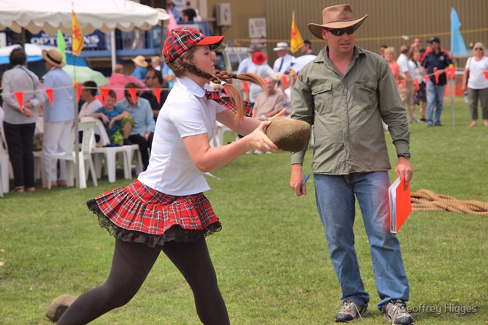 Highland Games - Tossing the Stone by Geoffrey Higges