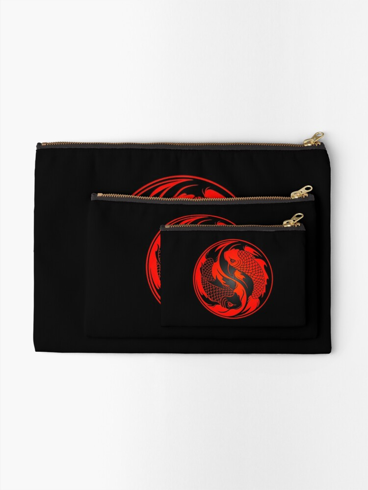 Alternate view of Red and Black Yin Yang Koi Fish Zipper Pouch