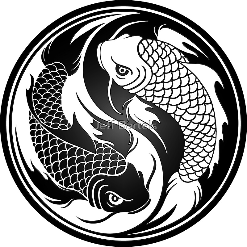 Black and white yin yang koi fish stickers by jeff for Black and white coy fish