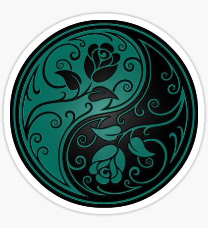 Teal Blue and Black Yin Yang Roses Sticker