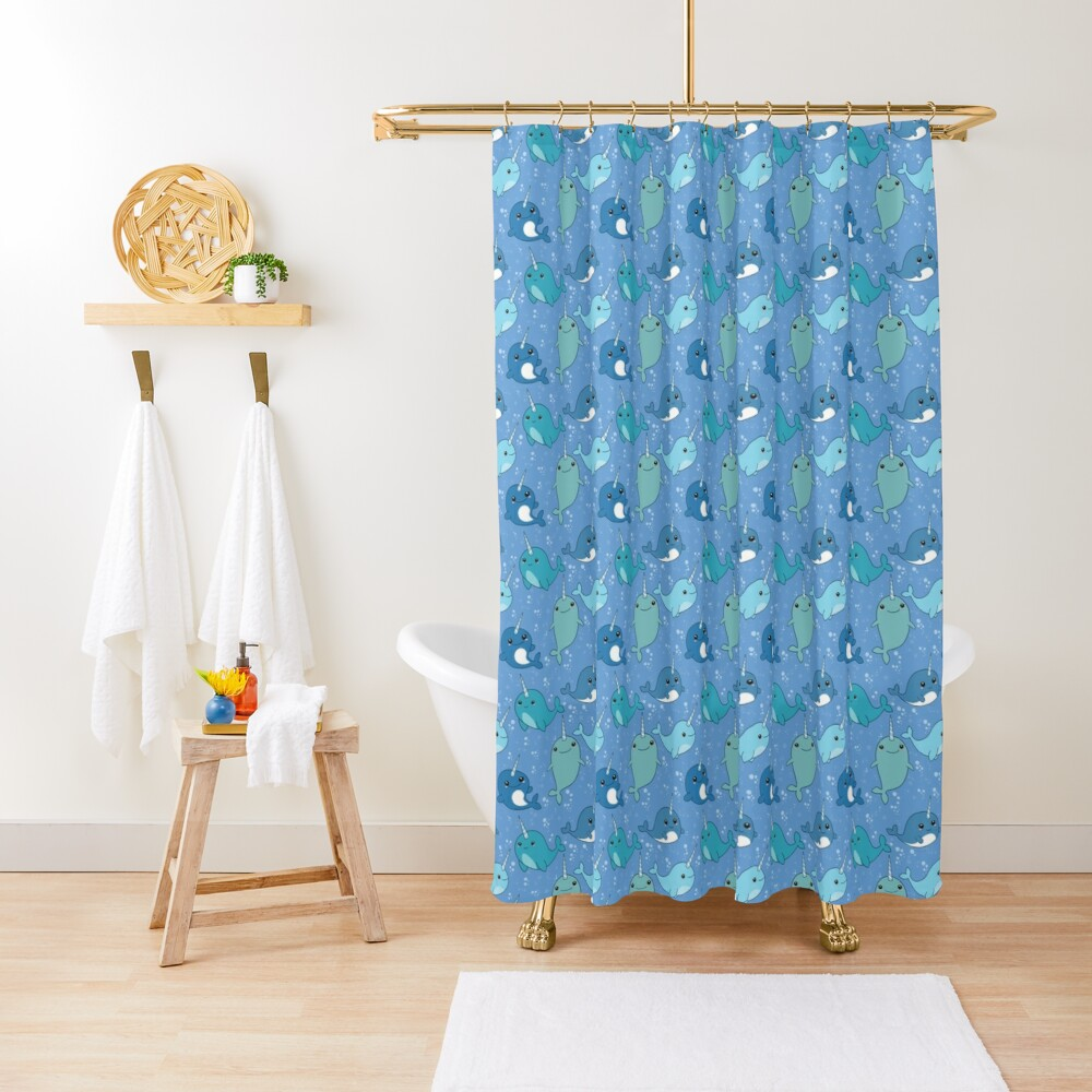 Narwhal Pattern Shower Curtain