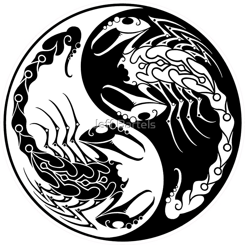 Quot White And Black Scorpions Yin Yang Quot Stickers By Jeff