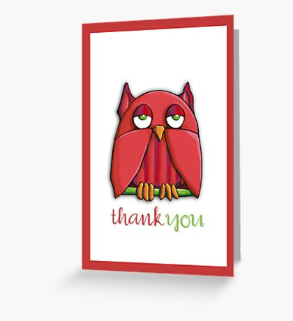 Red Owl Thank You Card Greeting Card
