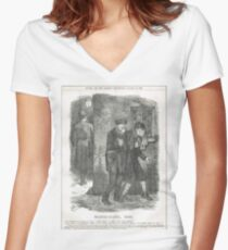 Jack the Ripper Punch Cartoon Whitechapel 1888 Women's Fitted V-Neck T-Shirt