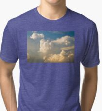 Blue Sky And Building Dramatic Storm Clouds Tri-blend T-Shirt
