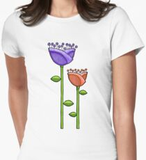 Fun Doodle Flowers purple orange Womens Fitted T-Shirt