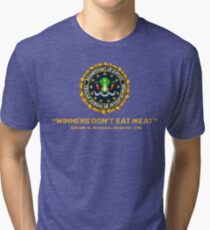 Winners Don't Eat Meat - Scott Pilgrim inspired Vegan Police Logo (transparent version) Tri-blend T-Shirt