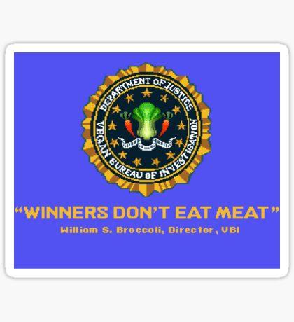 Winners Don't Eat Meat - Scott Pilgrim inspired Vegan Police Logo (blue screen version) Sticker