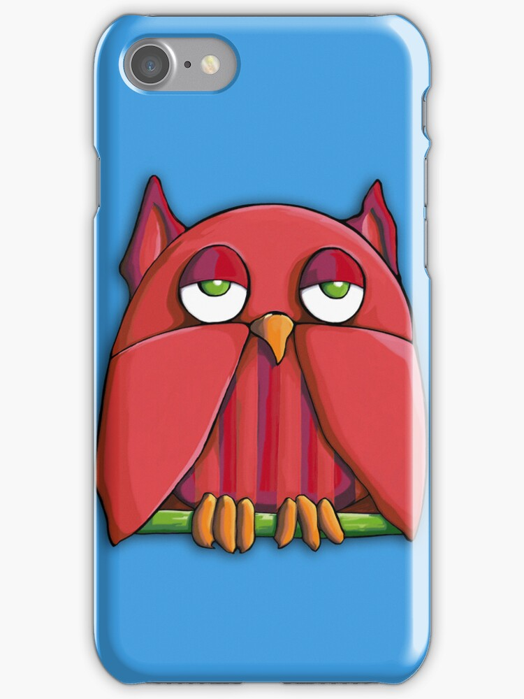 Red Owl aqua iPhone Case by Mariana Musa