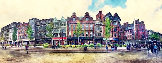 Nottingham panorama city watercolor by JBJart