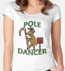 Funny Christmas Dancer Reindeer North Pole Pun Women's Fitted Scoop T-Shirt