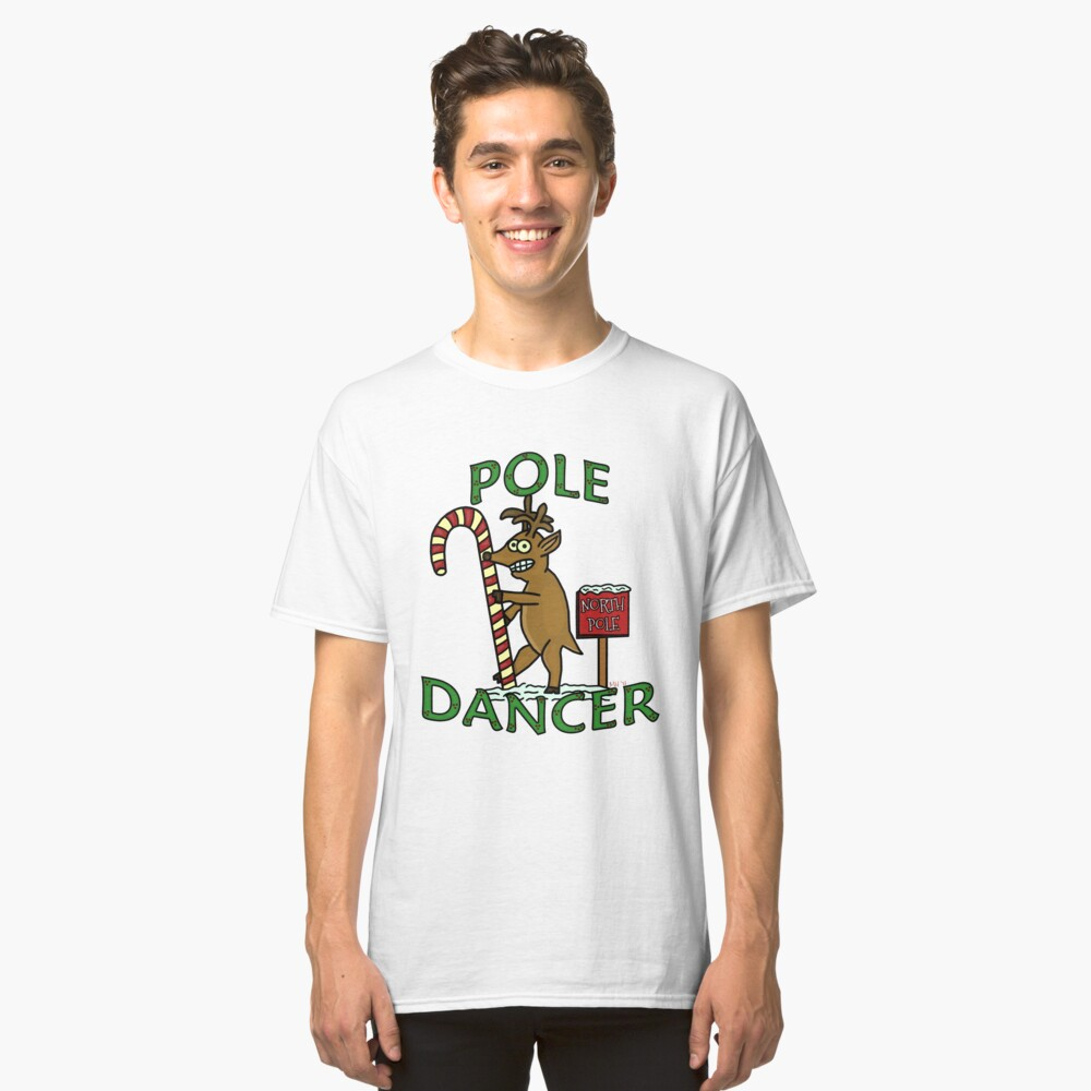 Funny Christmas Dancer Reindeer North Pole Pun Classic T-Shirt Front