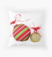 Christmas Ornaments Balls Contemporary Throw Pillow