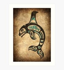 Teal Blue and Black Haida Spirit Killer Whale Art Print