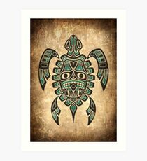 Teal Blue and Black Haida Spirit Sea Turtle Art Print