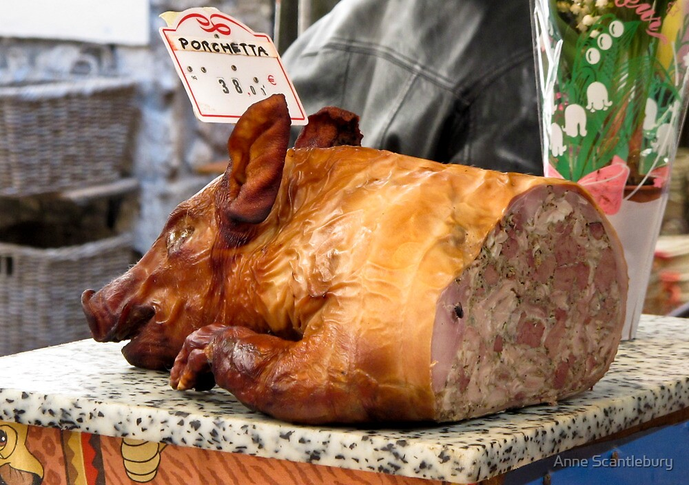 pork at the Antibes market by Anne Scantlebury