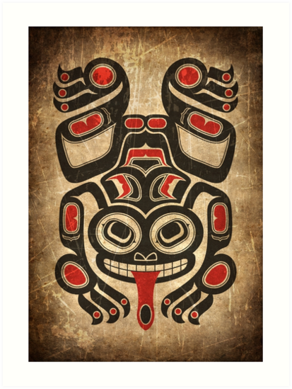 Red and Black Haida Spirit Tree Frog by jeff bartels