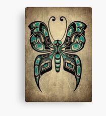 Teal Blue and Black Haida Spirit Butterfly Canvas Print