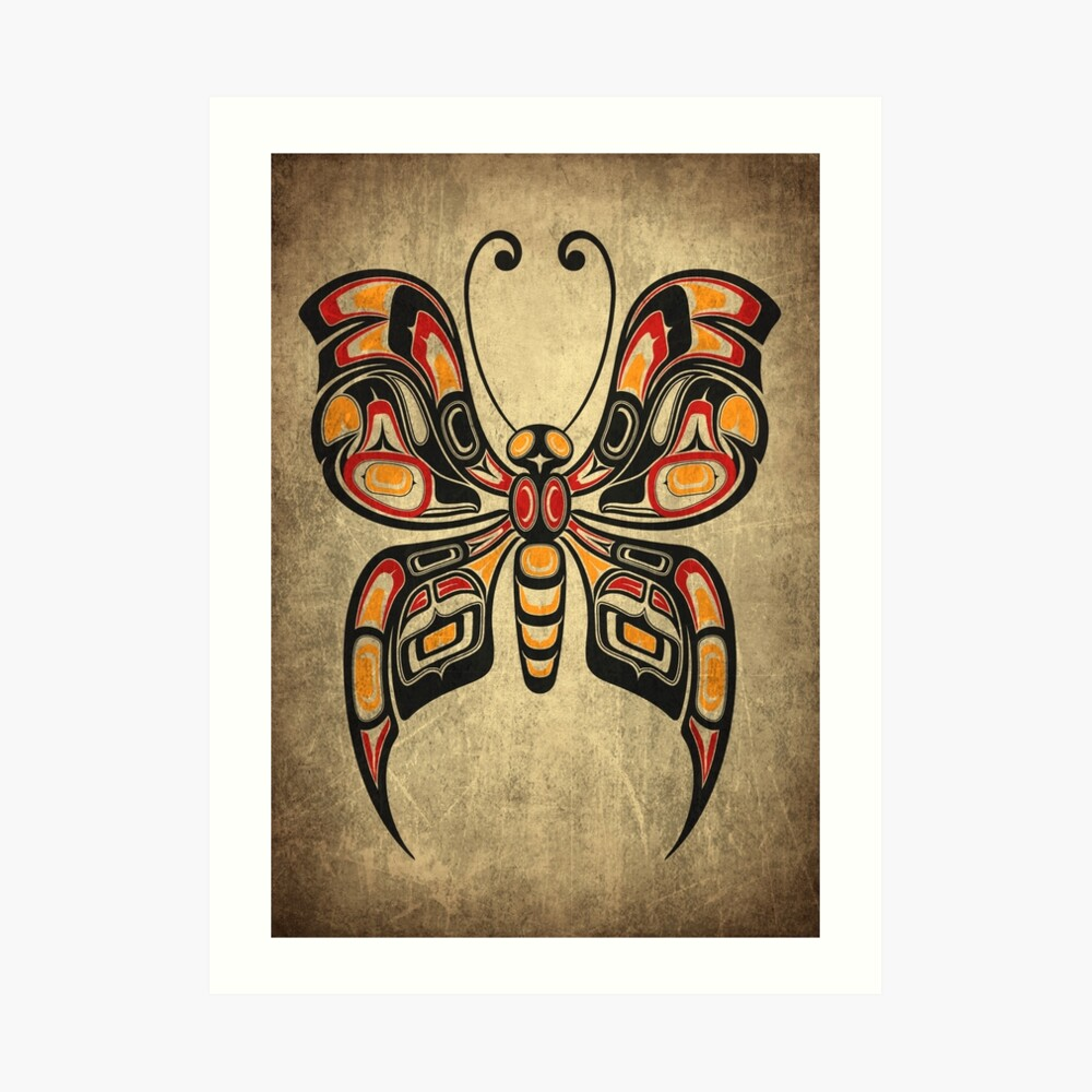 Red, Yellow and Black Haida Spirit Butterfly Art Print
