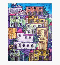 Greek Buildings, water colour & pen Photographic Print