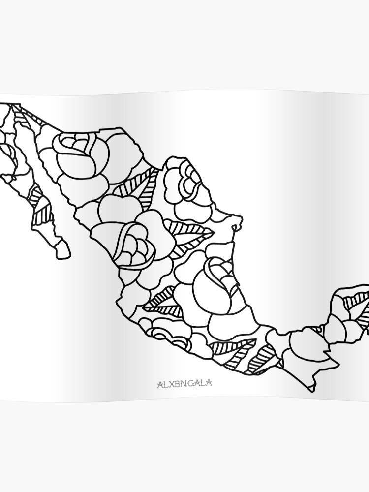 Mexiko Karte Umriss.Mexiko Karte Schwarzer Umriss Poster