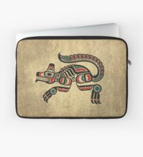 Red and Green Haida Spirit Wolf Laptop Sleeve